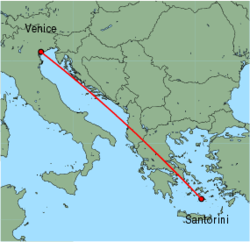 Map of route from Venice (Marco Polo) to Santorini
