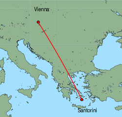 Map of route from Vienna to Santorini