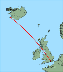 Map of route from London (Gatwick) to Reykjavik