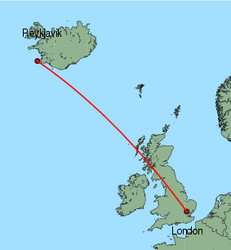 Map of route from London (Stansted) to Reykjavik