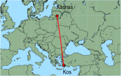 Map of route from Kaunas to Kos