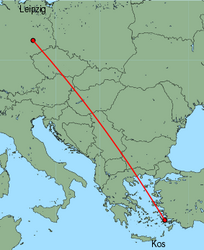 Map of route from Leipzig to Kos