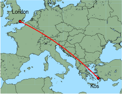 Map of route from London (Gatwick) to Kos
