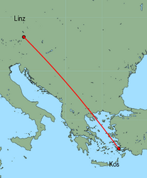 Map of route from Linz to Kos