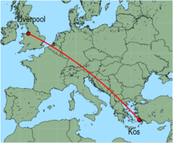 Map of route from Liverpool to Kos