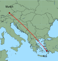 Map of route from Munich to Kos