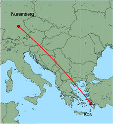 Map of route from Nuremberg to Kos