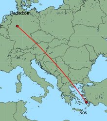 Map of route from Paderborn to Kos