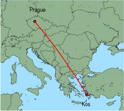 Map of route from Prague to Kos