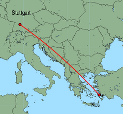 Map of route from Stuttgart to Kos