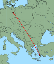 Map of route from Berlin(Schoenefeld) to Kos