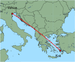 Map of route from Kos to Venice (Marco Polo)