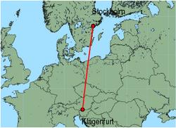 Map of route from Stockholm(Skavsta) to Klagenfurt