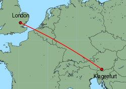 Map of route from London(Stansted) to Klagenfurt