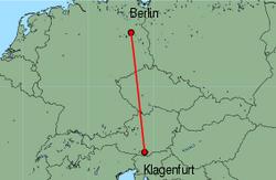Map of route from Klagenfurt to Berlin(Tegel)