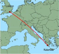 Map of route from London (Gatwick) to Kalamata