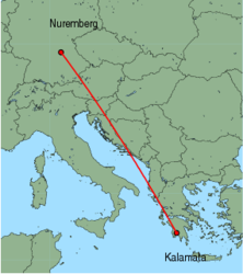 Map of route from Nuremberg to Kalamata