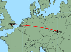 Map of route from Krakow to London(Stansted)