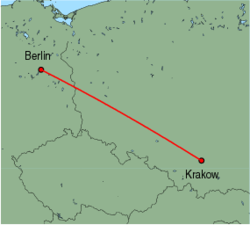 Map of route from Krakow to Berlin (Tegel)