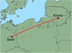 Map of route from Kaunas to Berlin (Schoenefeld)