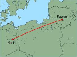Map of route from Kaunas to Berlin(Schoenefeld)
