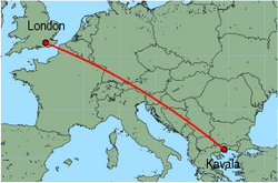 Map of route from London (Gatwick) to Kavala