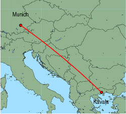 Map of route from Munich to Kavala
