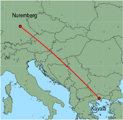 Map of route from Nuremberg to Kavala