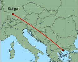 Map of route from Stuttgart to Kavala