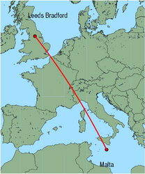 Map of route from Malta to Leeds Bradford