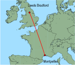 Map of route from Leeds Bradford to Montpellier