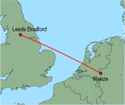 Map of route from Leeds Bradford to Weeze