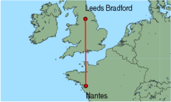 Map of route from Leeds Bradford to Nantes