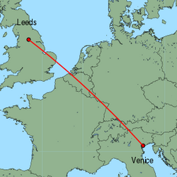 Map of route from Leeds Bradford to Venice (Marco Polo)
