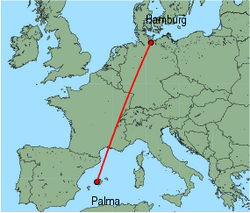 Map of route from Palma to Hamburg(Luebeck)