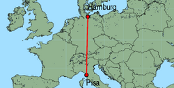 Map of route from Pisa to Hamburg (Luebeck)