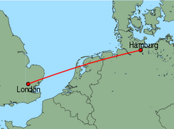 Map of route from London (Stansted) to Hamburg (Luebeck)
