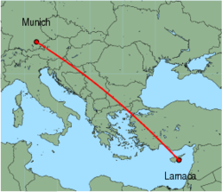 Map of route from Larnaca to Munich
