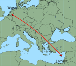 Map of route from Larnaca to Weeze