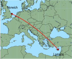 Map of route from Norwich to Larnaca
