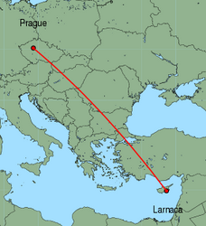Map of route from Larnaca to Prague