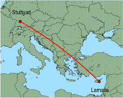 Map of route from Larnaca to Stuttgart