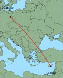 Map of route from Berlin (Schoenefeld) to Larnaca