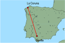 Map of route from La Coruna to Seville