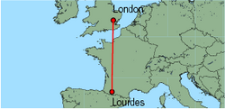 Map of route from London (Stansted) to Lourdes
