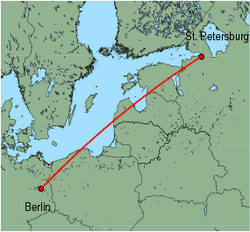 Map of route from St.Petersburg to Berlin(Schoenefeld)