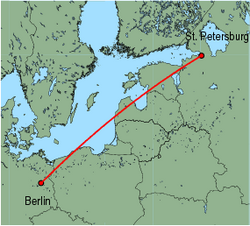 Map of route from St. Petersburg to Berlin (Tegel)
