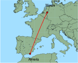 Map of route from Almeria to Weeze