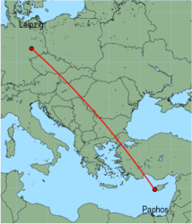 Map of route from Paphos to Leipzig