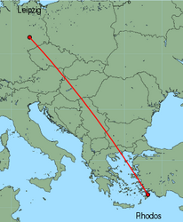 Map of route from Leipzig to Rhodos